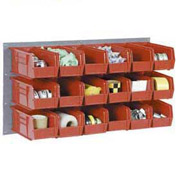 Wall Bin Rack Panel 36 x19 With 8 Red 8-1/4x14-3/4x7 Stacking Bins