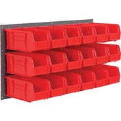 Wall Bin Rack Panel 36 x19 With 32 Red 4-1/8x7-1/2x3 Stacking Bins