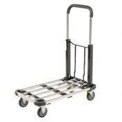 "Folding Platform Truck with Telescopic Aluminum Deck 300 Lb. Capacity 4"" Rubber Wheels"