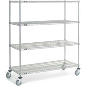 "Nexel® Chrome Wire Shelf Truck 60"" W x 24"" D x 69"" H 1200 Lb. Capacity"