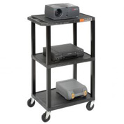 Black Plastic Tuffy Utility Cart 3 Shelves