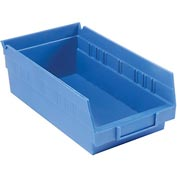 "Plastic Shelf Storage Bin - Nestable 6-5/8""W x 11-5/8"" D x 4""H Blue - Pkg Qty 12"