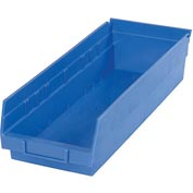 "Plastic Shelf Storage Bin - Nestable 6-5/8""W x 17-7/8"" D x 4""H Blue - Pkg Qty 12"