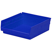 "Plastic Shelf Storage Bin - Nestable 11-1/8""W x 11-5/8"" D x 4""H Blue - Pkg Qty 12"