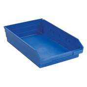 "Plastic Shelf Storage Bin - Nestable 11-1/8""W x 17-7/8"" D x 4""H Blue - Pkg Qty 12"