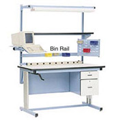 "72""L Bin Rail for Workstation - Blue"