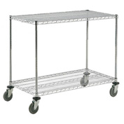 Nexel® Adjustable Chrome Wire Shelf Cart 36x24 2 Shelves 800 Lb. Capacity