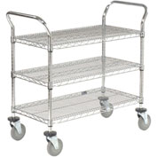 Nexel® Wire Utility Cart 48x24 3 Shelves 800 Lb. Capacity