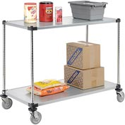 Nexel® Adjustable Solid Galvanized Shelf Cart 48x24 2 Shelves 800 Lb. Cap