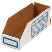 "Foldable Corrugated Shelf Bin 6""W x 18""D x 4-1/2""H, White - Pkg Qty 100"