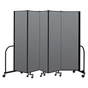"Screenflex Portable Room Divider 5 Panel, 6'8""H x 9'5""L, Fabric Color: Gray"