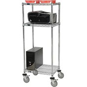 "Nexel™ 3-Shelf Mobile Wire Printer Stand, 24""W x 18""D x 59""H, Chrome"