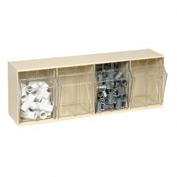 Quantum Tilt Out Storage Bin QTB304- 4 Compartments Ivory