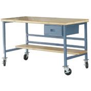 "Mobile 60"" X 30"" Shop Top Workbench - Blue"