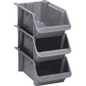 "LEWISBins Fiberglass Hopper Bin SH2411-8 Stack And Nest 24""L x 11-1/2""W x 8""H Gray - Pkg Qty 5"