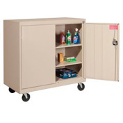 Sandusky Mobile Work Height Storage Cabinet TA2R462442 Double Door - 46x24x48, Sand