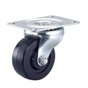 "Light Duty Swivel Plate Caster 3"" Rubber Wheel 150 Lb. Capacity"