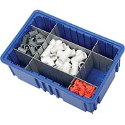 "Plastic Dividable Grid Container - DG92060,16-1/2""L x 10-7/8""W x 6""H, Blue - Pkg Qty 8"