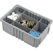 "Plastic Dividable Grid Container - DG92060,16-1/2""L x 10-7/8""W x 6""H, Gray - Pkg Qty 8"