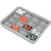 "Plastic Dividable Grid Container - DG93030, 22-1/2""L x 17-1/2""W x 3""H, Gray - Pkg Qty 6"