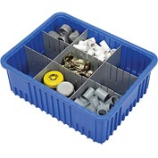 "Plastic Dividable Grid Container - DG93080, 22-1/2""L x 17-1/2""W x 8""H, Blue - Pkg Qty 3"