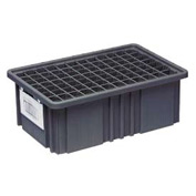 "Quantum Conductive Dividable Grid Container - DG93030CO, 22-1/2""L x 17-1/2""W x 3""H, Black - Pkg Qty 6"