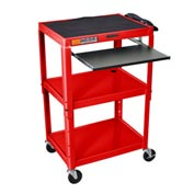 Red Adjustable Steel Workstation With Sliding Keyboard Shelf
