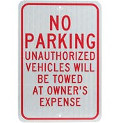 Aluminum Sign - No Parking Unauthorized Vehicles - .08mm Thick