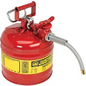 "Justrite® Type II Safety Can - 2-Gallon with 5/8"" Flexible Spout, Red, 7220120"
