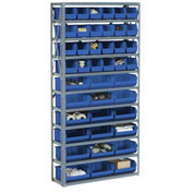 "Steel Open Shelving with 28 Blue 8-1/4x14-3/4x7 Stacking Bins 8 Shelves - 36"" x 12"" x 73"""