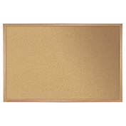 "Ghent® Cork Bulletin Board - Hardwood Oak - 36""W X 24""H"