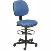 "Value Office Stool - Fabric - Pneumatic Height 23"" - 26"" - Blue"