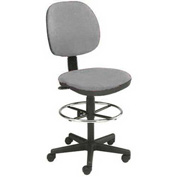 "Value Office Stool - Fabric - Pneumatic Height 23"" - 26"" - Gray"