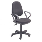 Office Chair with Fixed Arms - Fabric - Black