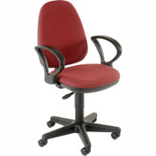 Office Chair with Fixed Arms - Fabric - Burgundy