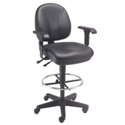 Leather Task Stool with Arms - 360° Footrest - Black