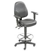 Leather Operator Stool with Arms - 360° Footrest - Black