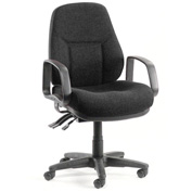 Office Chair with Arms - Fabric - Mid Back - Black