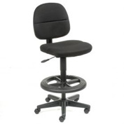 Drafting Stool - Fabric - 360° Footrest - Black