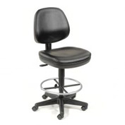 Antimicrobial Stool - Vinyl - 360 Footrest - Black