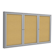 "Ghent® Aluminum Frame Three Door Bulletin Board - 96""W X 48""H"