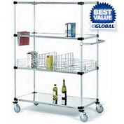 Nexel® Stainless Steel Shelf Truck 36x24x92 1200 Lb. Capacity with Brakes