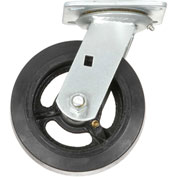 "Heavy Duty Swivel Plate Caster 6"" Mold-on Rubber Wheel 500 lb. Capacity"