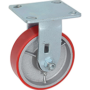 "Heavy Duty Rigid Plate Caster 5"" Polyurethane Wheel 500 Lb. Capacity"