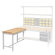 "48""W x 30""D Euro Style Production Workbench Return - Maple Butcher Block Square Edge - Gray"