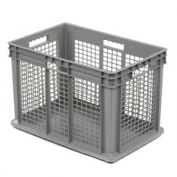 "Akro-Mils Straight Wall Container 37676 Mesh Sides Solid Base 23-3/4""L x 15-3/4""W x 16-1/8""H, Gray - Pkg Qty 2"