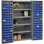 "Bin Cabinet Deep Door with 96 Blue Bins, Shelves, 16-Ga. Assembled Cabinet 38""W x 24""D x 72""H, Gray"