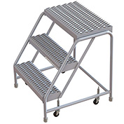 "3 Step Aluminum Rolling Ladder, 16""W Grip Step, W/O Handrails"