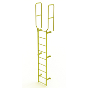 9 Step Steel Walk Through With Handrails Fixed Access Ladder, Yellow - WLFS0209-Y