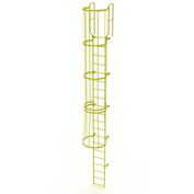 20 Step Steel Caged Walk Through Fixed Access Ladder, Yellow - WLFC1220-Y